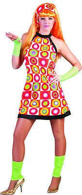 18.3ms Gogo Kleid 2 Stück Orange Mehrfarbig Kreisaufdruck Ärmellos - 3 Stück Ärmellos Kostüm