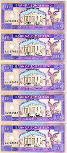 LOT-Somaliland-5-x-10-shillings-1994-1996-P-2-UNC