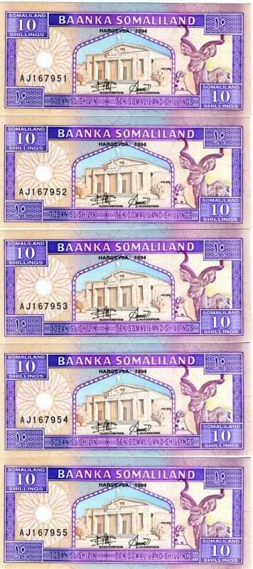 LOT, Somaliland, 5 x 10 shillings, 1994, P-2a, UNC