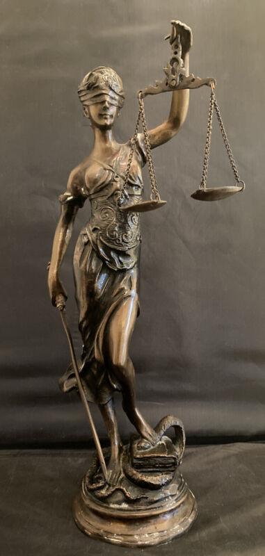 """Rare Antique Blind  Lady of Justice Original  Bronze Figurine / Statue 16  """""""
