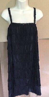 California Costumes Women's Fashion Flapper Costume Black SZ L Fringe Halloween - Halloween Fashion Costumes
