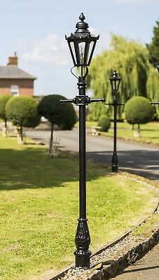 Ex Outdoor Lights - USED Ex-Display 2.7m Black Hexagonal Victorian Garden Lamp Post or Street Light