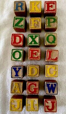 "Lot Of 21 Vintage Alphabet Numbers 1 1/4"" Wood Blocks"
