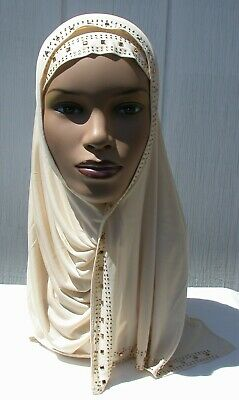 One piece Kuwaiti Mona Rhinestone Hijab Headcover Muslim Wrap WINTER WHITE Abaya