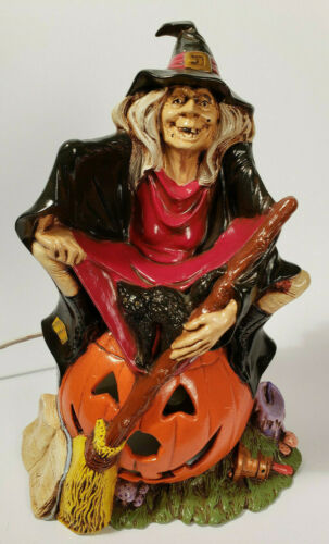HALLOWEEN WITCH Cat Grimoire Pumpkin Light Vintage Ceramic BYRON MOLD