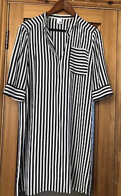 Gorgeous Iris & Ink 100% Silk Striped Navy White Shirt dress UK 10 generous fit