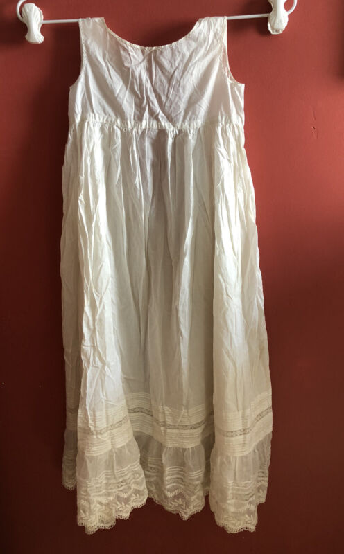 "Vintage Antique Baby Christening Baptismal Gown,Beautiful Cotton & Lace 32"" Long"