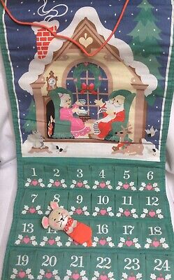 Vintage Avon Countdown to Christmas Cloth Advent Calendar w/ Mouse New Old Stock
