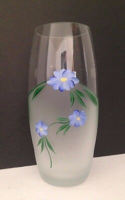TGMG Hamd Made In Romania Clear & Frosted Glass Vase w Label 7""