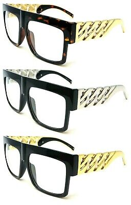 FLAT TOP SQUARE METAL CHAIN SUNGLASSES OVERSIZED THICK BOLD LUXURY HIP HOP VTG