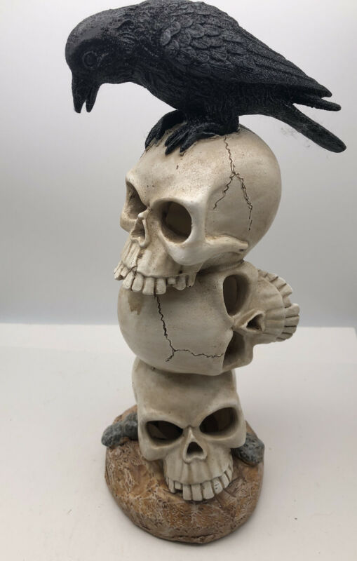 13 Inch Raven On Skull Tower  Color Lights Halloween Gothic Figure Statue