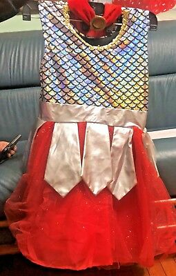 GIRLS  ROMAN WARRIOR COSTUME SIZE 4-6  SILVER AND RED