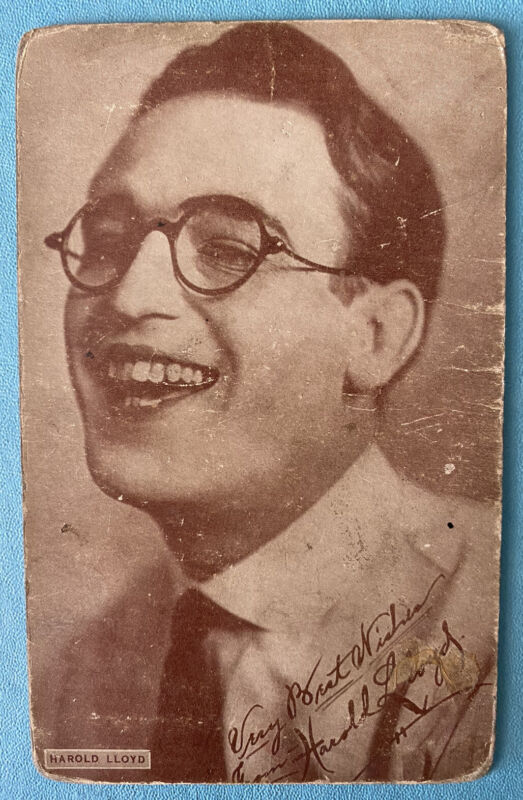 HAROLD LLOYD -silent film star 1920s arcade/exhibit postcard VG