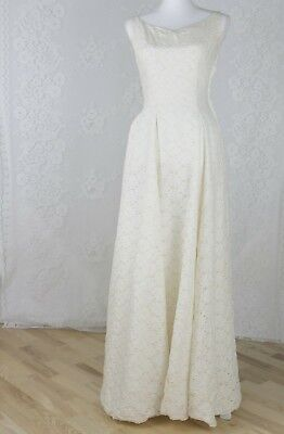 50s Lace Wedding Dress   Vintage Champagne Sweetheart Sleeveless Bridal Gown   S
