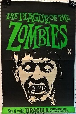 PLAGUE OF THE ZOMBIES 1966  - ORIGINAL  HAMMER  UK QUAD CROWN  POSTER.30 X 20