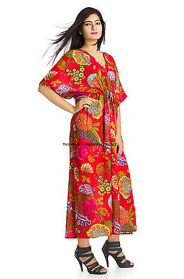 Mujer Boho Caftán Kimono Manga Cóctel Vestido Maxi Talla Grande Rojo Túnica