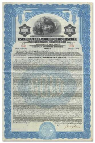 United Steel Works Corporation Bond Certificate
