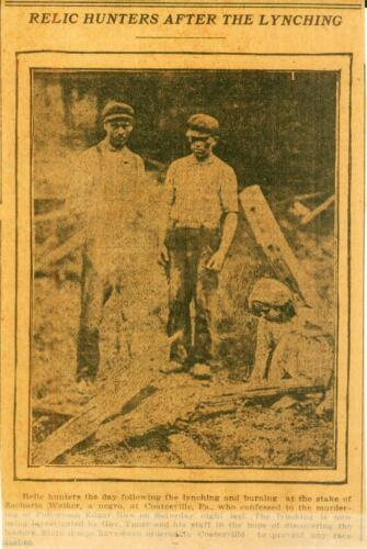 "Clipping from Newspaper ""Relic Hunters"" After the Lynching Coatesville, PA 1911"