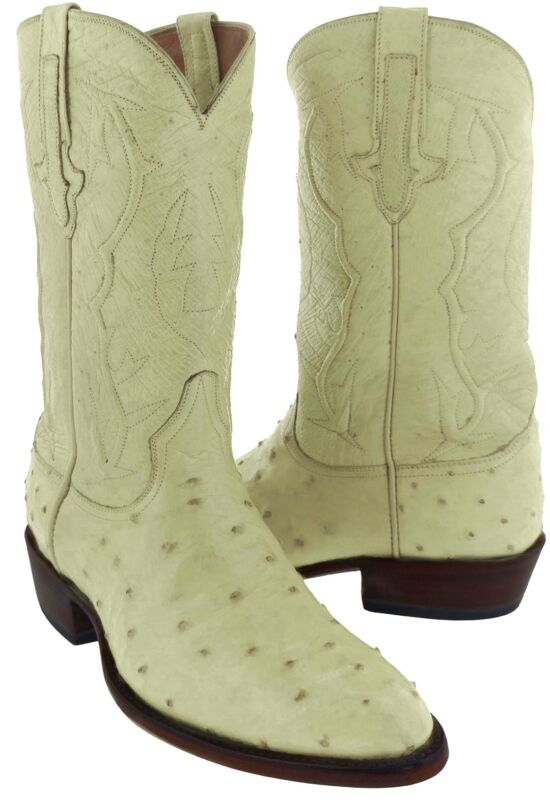 Mens, Genuine, Off, White, Full, Real, Ostrich, Cowboy, Quill, Leather, Round, Toe, Boots