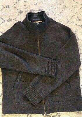 John Varvatos Tonal Dark Brown Mixed Media Leather and Wool Zip Up Sweater, Sz M