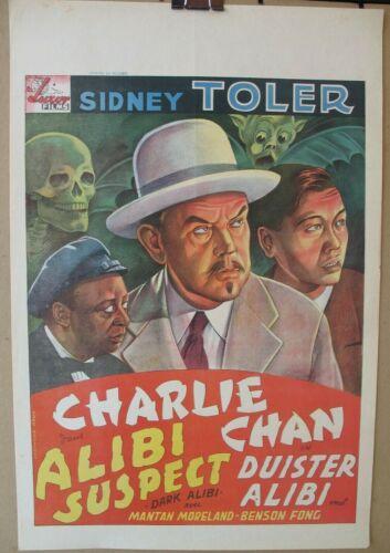 DARK ALIBI (1946) Original Release Belgian Poster, Charlie Chan, Sidney Toler