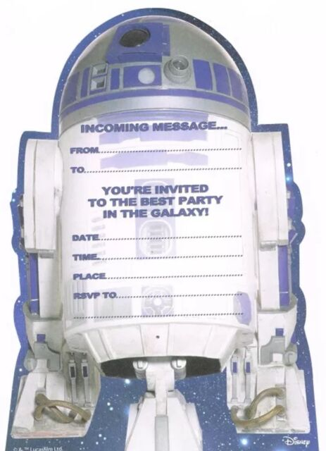 STAR WARS R2-D2 PACK OF 20 PARTY INVITATIONS NEW GIFT