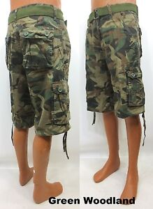 Men's BEYOND THE LIMIT green grey khaki camo cargo shorts with belt style P253A