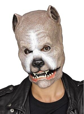 Brown Pit Bull Latex Mask Animal Snarling Dog Halloween Costume Accessory