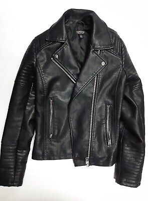 TOPSHOP Womens Synthetic Leather Jacket in Black Size 4 ++BEST (Best Black Leather Jacket)
