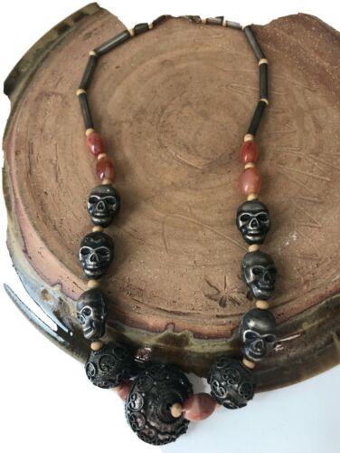 Vintage Middle Eastern Yemin Beduoin Skulls & Carnelian Beaded Necklace