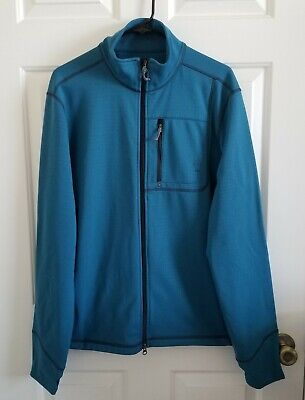 Prana Athletic Active Athletic Jacket Men's Teal Blue Full Zip Sz L Mens Athletic Active Jacket
