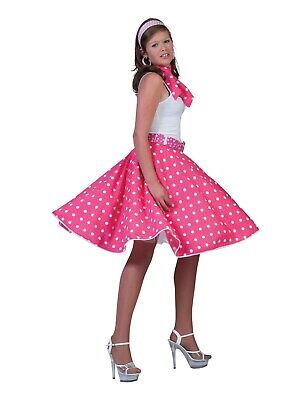 Funny Twin Costumes Halloween (Funny Fashion Halloween-Party 50's Sock Hop Skirt-Pink/White with Matching)