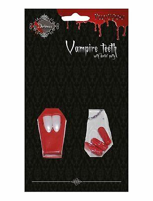 Denti canini bianchi da vampiro con capsule di sangue