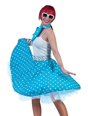 Funny Twin Costumes Halloween (Funny Fashion Halloween-Party 50's Sock Hop Skirt-Blue/White with Matching)