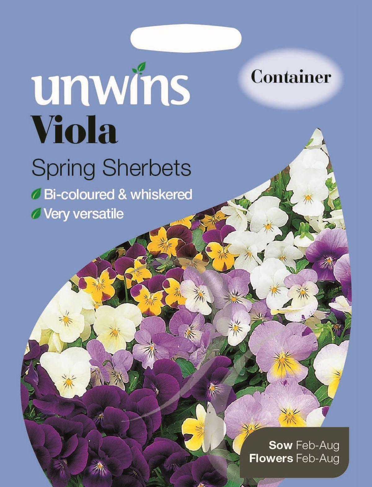 100 semi Unwins pacchetto pittorico-Fiore-Viola Primavera sherbets