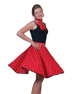 Funny Twin Costumes Halloween (Funny Fashion Halloween-Party 50's Sock Hop Skirt-Red/Black with Matching)