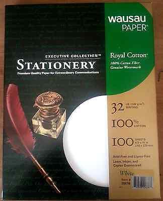 Royal 100  Cotton White Resume Stationery Paper   8 5 X 11 32  100 Sheets Box