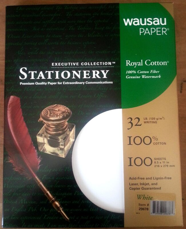 Royal 100% Cotton White Resume Stationery Paper - 8.5 x 11-32# 100 Sheets/Box