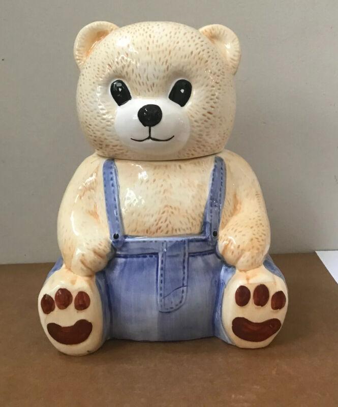 Vintage Montgomery Ward Beige Teddy Bear Ceramic Cookie Jar