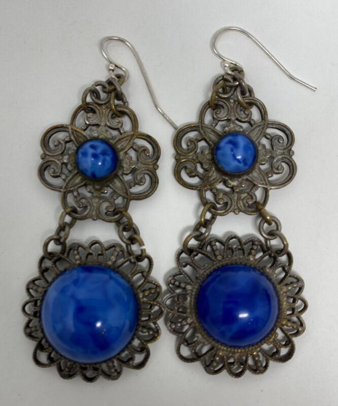 Vintage Art Deco Czech Blue Art Glass Filigree Dangle  Earrings