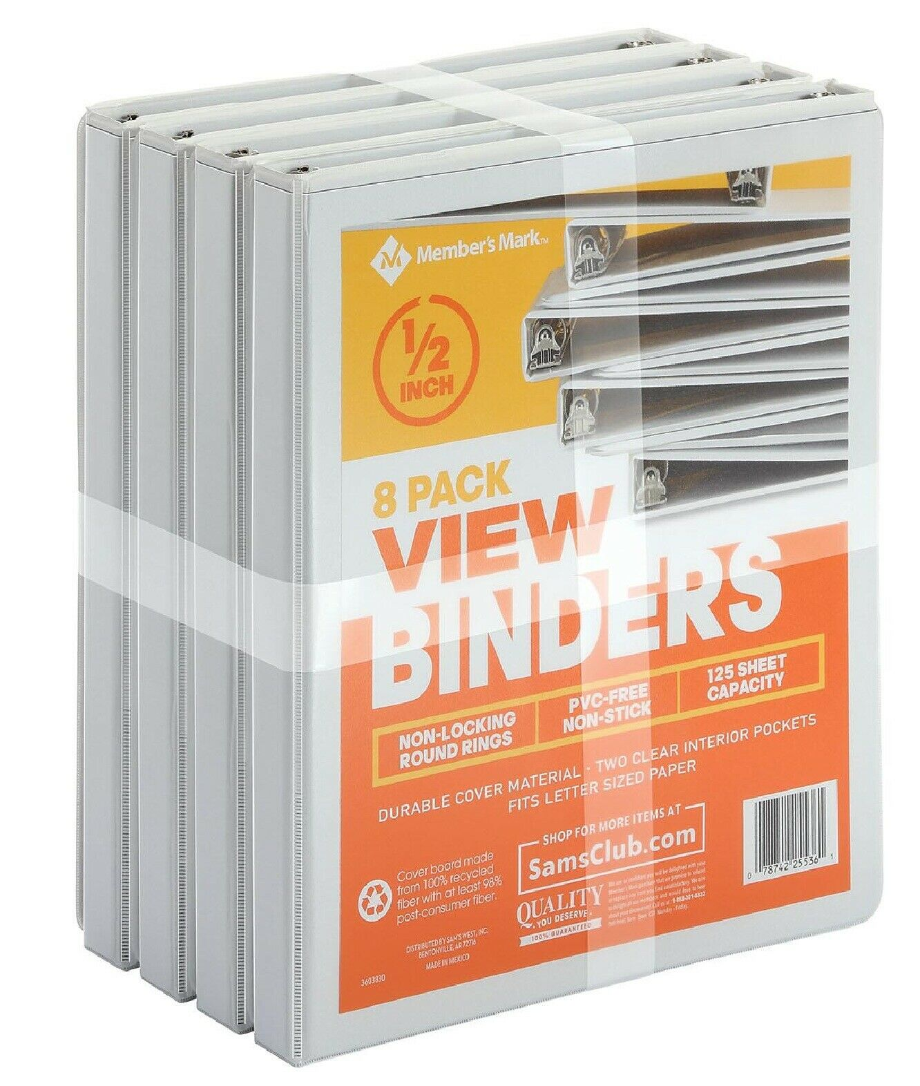 "1/2"" Round-Ring View Binder, White"
