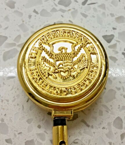 CBP TSA ID Holder Gold on Gold Logo All Metal Retractable Reel