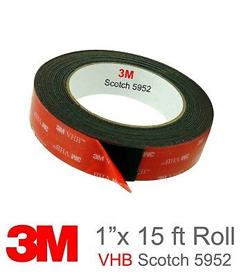 """3M 1/"""" x 21 ft  VHB Double Sided Foam Adhesive Tape 5952 Automotive Mounting 24mm"""