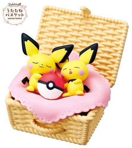 RE-MENT Pokemon Utatane Basket Nap Sleeping Mini Toy Figure #4 Pichu & Pichu NEW