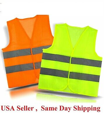 Neon Class 2 Safety Vest W High Visibility Reflective Stripes Orange Yellow