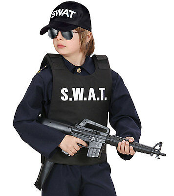 Boys Kids Police Swat Bulletproof Vest & Swat Cap Hat Costume Fancy Dress Outfit