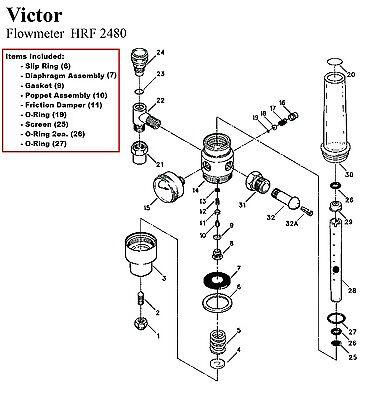 Victor Hrf2480 Flowmeter Rebuildrepair Parts Kit 0790-0131
