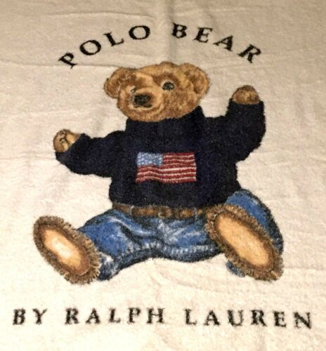 VTG RALPH LAUREN POLO BEAR STADIUM 92 AMERICAN FLAG SWEATER BEACH WHITE TOWEL