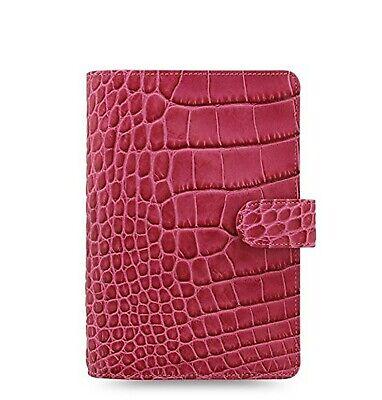 Filofax Classic Personal Size Croc Print Leather Organizer Agenda Fuchsia 026076