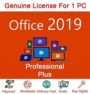 Microsoft Office 2019 Professional Plus Key 32/64 Bit 1 PC Windows Install 5min